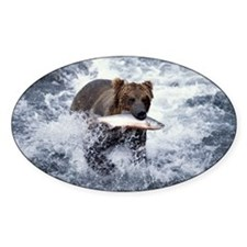 GRIZZLY BEAR WITH RED SALMON IN KAT Decal