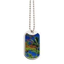 FLAME TREE IN THE COOK ISLANDS, POLYNESIA Dog Tags