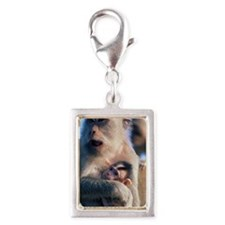 LONG TAILED MACAQUES MONKEY  Silver Portrait Charm