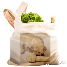 LAB PUPPY AND LARGE BONE Reusable Shopping Bag