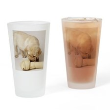 LAB PUPPY AND LARGE BONE Drinking Glass