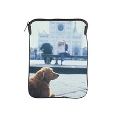 DOG RELAXES IN FRONT OF CHIRCH, SANTA  iPad Sleeve