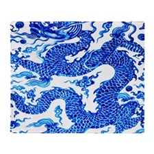Vintage Blue Dragon Chinese Porcelai Throw Blanket