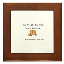 Cute Down's syndrome Framed Tile