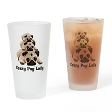 Crazy Pug Lady Drinking Glass