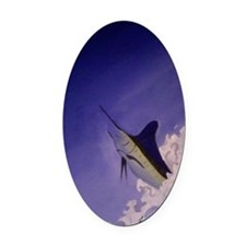 Marlin Deep Sea Fishing Oval Car Magnet