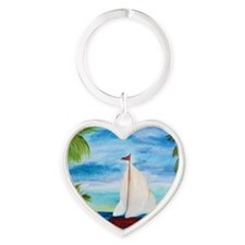 1 red sailboat Heart Keychain