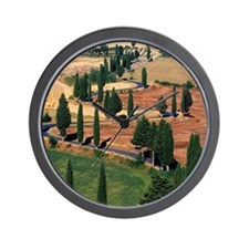 WINDING ROAD ON HILL, TUSCANY, ITALY Wall Clock