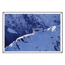 SNOW-COVERED HOUSE ON MOUNTAIN, ALPS, ITALY Banner