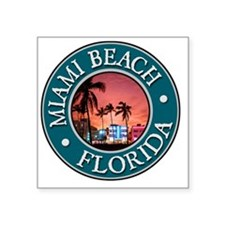 "Miami Beach, FL Square Sticker 3"" x 3"""