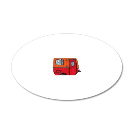 Cute orange boler camper 20x12 Oval Wall Decal