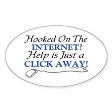 Hooked On The Internet? Oval Decal