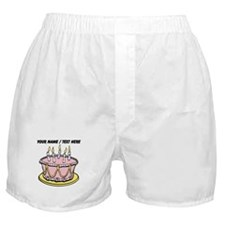 Custom Pink Birthday Cake Boxer Shorts