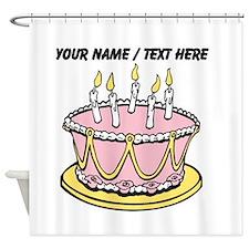 Custom Pink Birthday Cake Shower Curtain