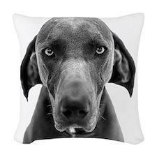 Blue weimaraner dog staring Woven Throw Pillow