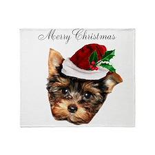 Merry Christmas Yorkshire Terrier Throw Blanket
