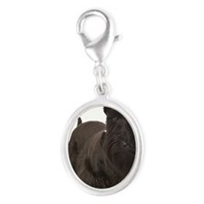 Well Groomed scotty dog Silver Oval Charm