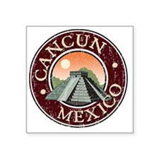 "Cancun, Mexico - Distressed Square Sticker 3"" x 3"""