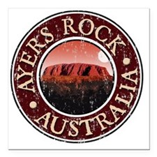 "Ayers Rock - Distressed Square Car Magnet 3"" x 3"""