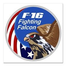 "F-16 Falcon Square Car Magnet 3"" x 3"""