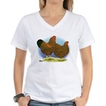 GL Wyandotte Rooster and Hen Women's V-Neck T-Shir