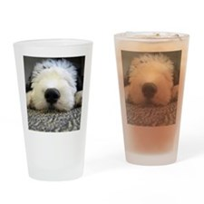 English Sheepdog puppy Drinking Glass
