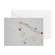 Beach drawing of Christmas tree Greeting Card