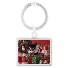 Chihuahua Puppy and Christmas Landscape Keychain