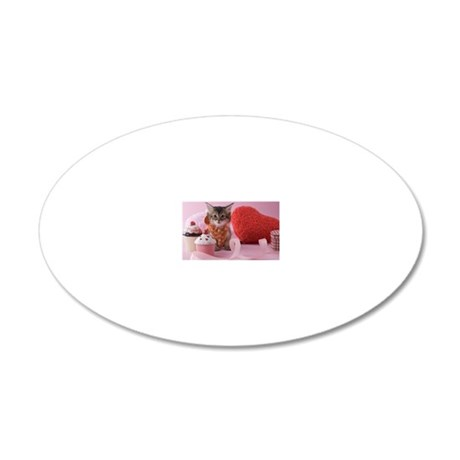Somali Kitten and Heart Shap 20x12 Oval Wall Decal