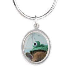 French Bulldog Puppy and Rain Silver Oval Necklace