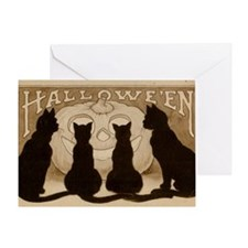 Halloween Black Cats Greeting Card