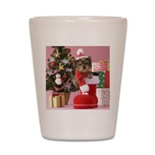 Yorkshire Terrier Puppy and Christmas Shot Glass