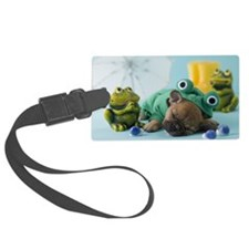 French Bulldog Puppy and Rainy S Large Luggage Tag