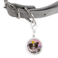 Papillon Puppy and Stationery Small Round Pet Tag