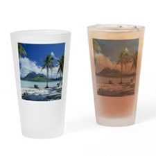 Beach of Bora Bora Island, Tahiti Drinking Glass