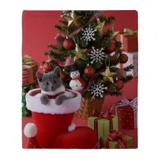Russian Blue Kitten and Christmas Throw Blanket