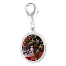 Russian Blue Kitten and Christm Silver Oval Charm