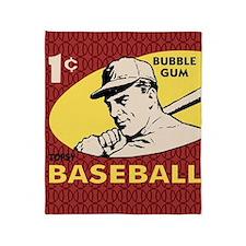 Bubble Gum Baseball Throw Blanket