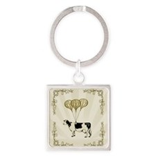 Vintage Balloon Cow Square Keychain