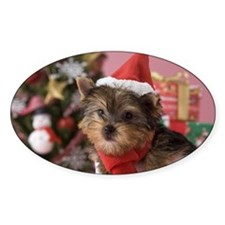 Yorkshire Terrier Puppy and Christm Decal