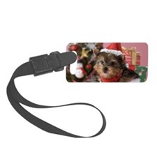 Yorkshire Terrier Puppy and Chri Luggage Tag