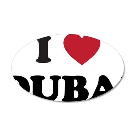 I Love Dubai 35x21 Oval Wall Decal