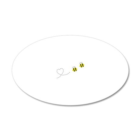 Bee in Love 20x12 Oval Wall Decal