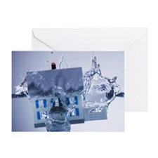Model home sinking in water Greeting Card