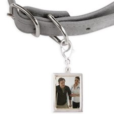 Man walking on crutches in  Small Portrait Pet Tag