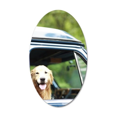 Pet dog sitting in a car 35x21 Oval Wall Decal