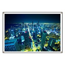 Downtown Chicago at Night Banner