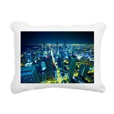 Downtown Chicago at Nigh Rectangular Canvas Pillow
