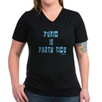 Purim Party Time Women's V-Neck Dark T-Shirt