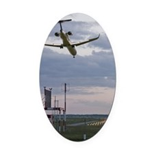 Airplane landing, low angle view,  Oval Car Magnet